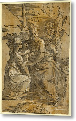 The Holy Family With St. Margaret And A Bishop Metal Print by Da Trento, Antonio (1508?1550), Italian And, Giuseppe Niccolo Vicentino, Parmigianino, Andrea Andreani