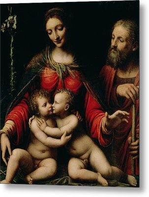 The Holy Family With The Infant St. John Metal Print by Bernardino Luini