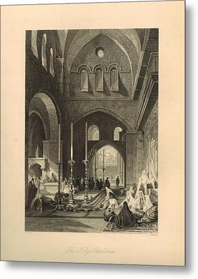 The Holy Sepulchre 1886 Engraving With Border Metal Print by Antique Engravings