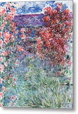 The House At Giverny Under The Roses Metal Print by Claude Monet