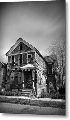 The House Of Soul At The Heidelberg Project - Detroit Michigan - Bw Metal Print