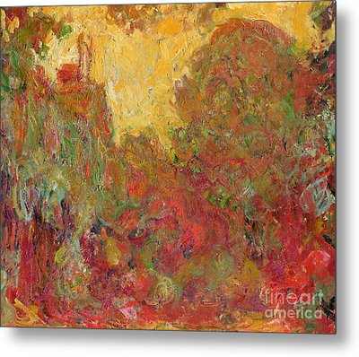 The House Seen From The Rose Garden Metal Print by Claude Monet