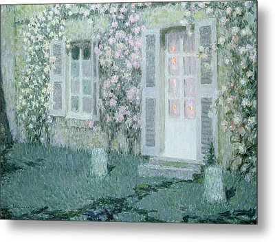 The House With Roses Metal Print by Henri Eugene Augustin Le Sidaner