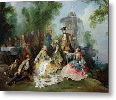 The Hunting Party Meal, C. 1737 Oil On Canvas Metal Print