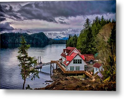 The Inlet Painitng Metal Print by Timothy Latta
