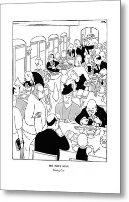 The Inner Man  Dining Car Metal Print by Gluyas Williams