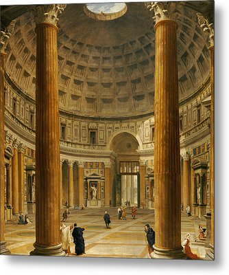 The Interior Of The Pantheon Metal Print by Giovanni Paolo Panini