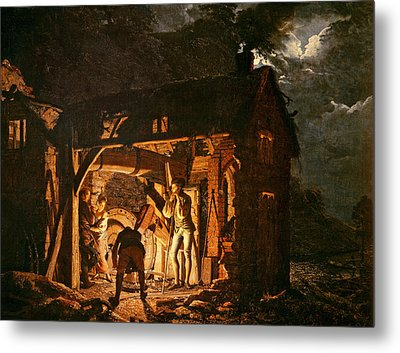 The Iron Forge Viewed From Without, C.1770s Oil On Canvas Metal Print by Joseph Wright of Derby