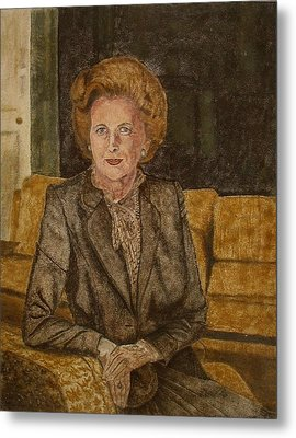 Portrait Of 'the Iron Lady' Using Natural Coloured Sands And Magnetised Iron Filings Metal Print
