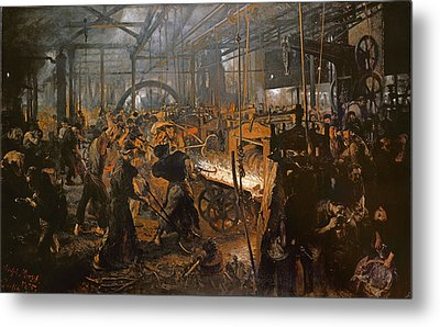 The Iron-rolling Mill Oil On Canvas, 1875 Metal Print by Adolph Friedrich Erdmann von Menzel
