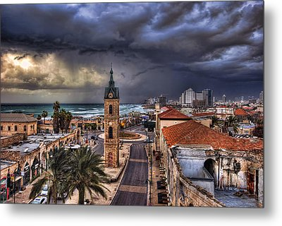 Metal Print featuring the photograph the Jaffa old clock tower by Ronsho