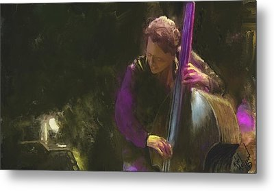 The Jazz Bassist Metal Print by Michael Malicoat