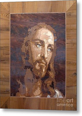 The Jesus Christ Marquetry Wood Work Metal Print by Persian Art