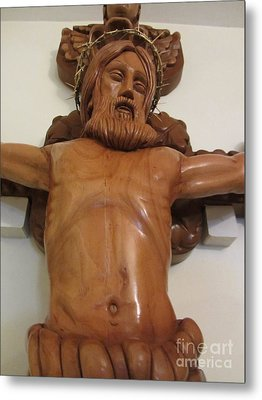The Jesus Christ Sculpture Wood Work Wood Carving Poplar Wood Great For Church 4 Metal Print by Persian Art
