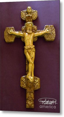 The Jesus Christ Sculpture Wood Work Wood Carving Poplar Wood Great For Church Metal Print by Persian Art