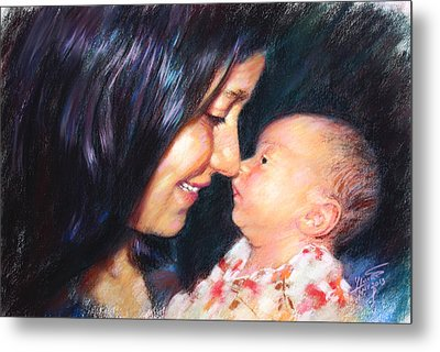 Metal Print featuring the drawing The Joy Of A Young Mother by Viola El