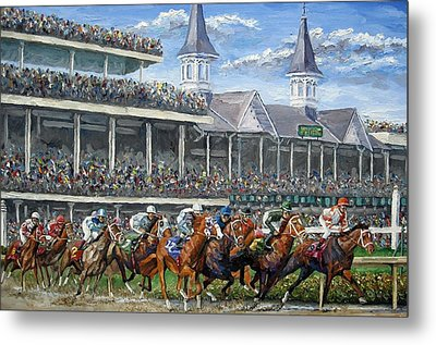 The Kentucky Derby - Churchill Downs Metal Print by Mike Rabe