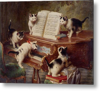 The Kittens Recital Metal Print by Carl Reichert