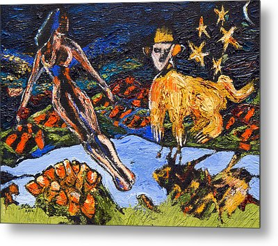The Lady And The Chimera Metal Print by Brenda Clews