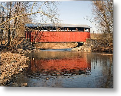 Metal Print featuring the photograph The Lairdsville Covered Bridge After The Flood by Gene Walls