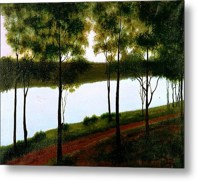 The Lake After Sunset  Metal Print by Laila Awad Jamaleldin