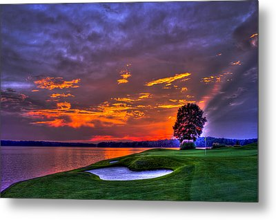 The Landing Golf Sunset On Lake Oconee  Metal Print by Reid Callaway