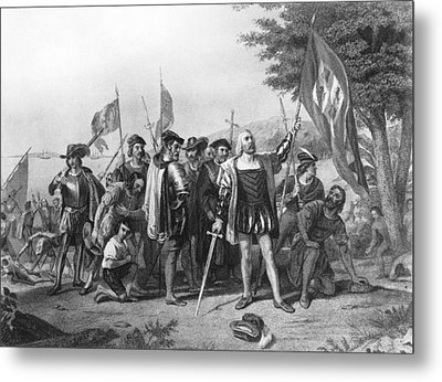 The Landing Of Columbus Metal Print by Underwood Archives
