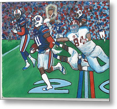 The Last Grasp Alabama Auburn Iron Bowl 2013 Add Nostalgia  Metal Print by Ricardo Of Charleston