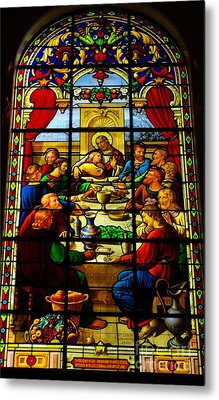 Metal Print featuring the photograph The Last Supper In Stained Glass by John S