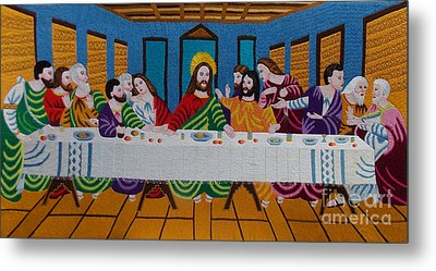 The Last Supper Hand Embroidery Metal Print by To-Tam Gerwe