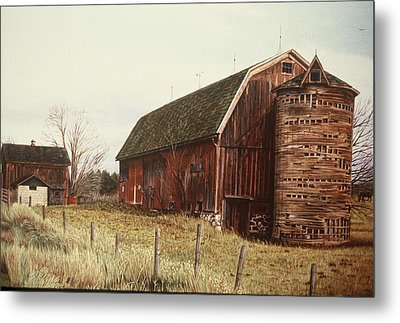 The Last Wooden Silo Metal Print