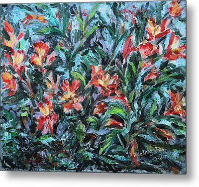 Metal Print featuring the painting The Late Bloomers by Xueling Zou