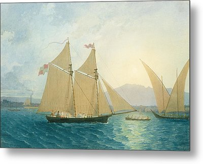 The Launch La Sociere On The Lake Of Geneva Metal Print by Francis  Danby