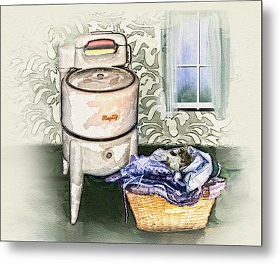 Metal Print featuring the digital art The Laundry Room by Mary Almond