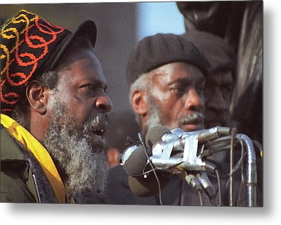The Leaders Of A Local Antyracist Movement While Performing Their Speach During Toronto Riots 1992 Metal Print by T Monticello