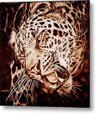 The Leopard's Hello Metal Print by Cynthia Adams