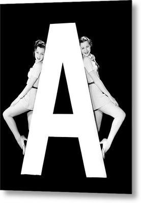 The Letter a And Two Women Metal Print
