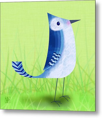The Letter Blue J Metal Print by Valerie Drake Lesiak