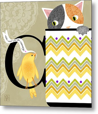 The Letter C For Cat And Canary Metal Print by Valerie Drake Lesiak