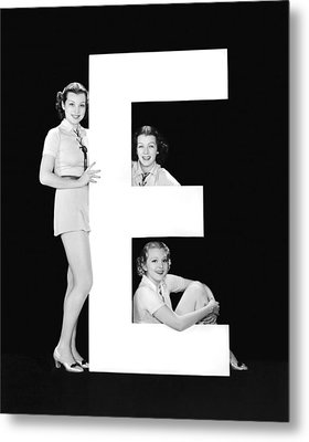 The Letter e And Three Women Metal Print by Underwood Archives