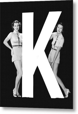 The Letter k  And Two Women Metal Print by Underwood Archives