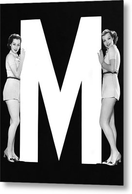 The Letter m  And Two Women Metal Print by Underwood Archives
