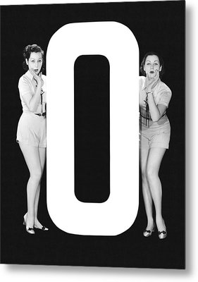 The Letter o  And Two Women Metal Print by Underwood Archives