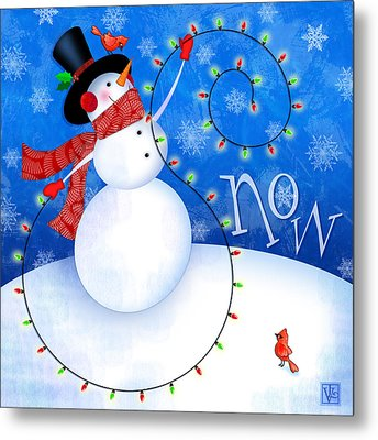 The Letter S For Snowman Metal Print by Valerie Drake Lesiak