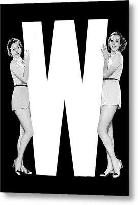 The Letter w And Two Women Metal Print