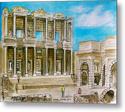 The Library At Ephesus Turkey Metal Print by Frank Hunter