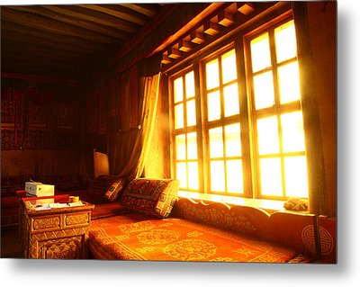 The Light And The Believer's Window Metal Print by Afrison Ma
