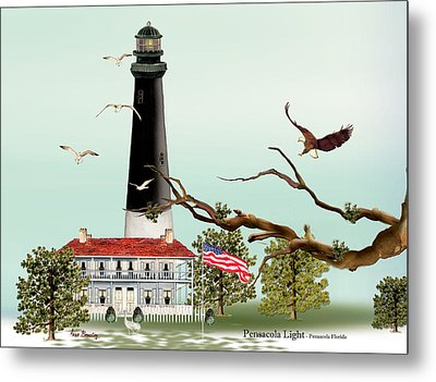 The Light House At Pensacola Metal Print by Anne Beverley-Stamps