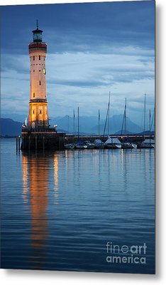 Metal Print featuring the photograph The Lighthouse Of Lindau By Night by Nick  Biemans