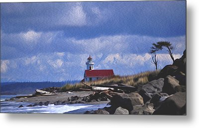 Metal Print featuring the digital art The Lighthouse With The Red Roof. by Timothy Hack